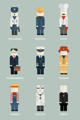 Set of professionals isolated characters