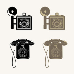 Detailed vector phone and photo camera