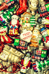 christmas baubles, toys, garlands and ornaments. vintage style