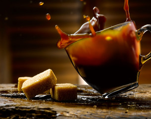 caffe' con zollette di zucchero grezzo