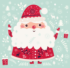 Christmas vector illustration with funny Santa Claus