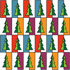 Christmas background with colorful trees