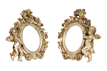 Set of oval baroque golden picture frames with cupid isolated