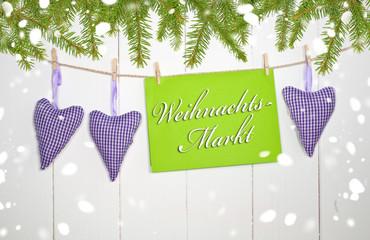 Herzen mit Weihnachtsmarkt