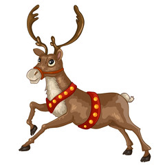 Illustration of beautiful cartoon Christmas reindeer