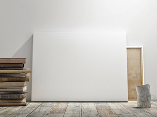 Mock up poster in white wall, wooden floor