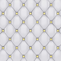 White leather upholstery pattern with golden buttons