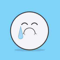 Face icon character crying with large tear