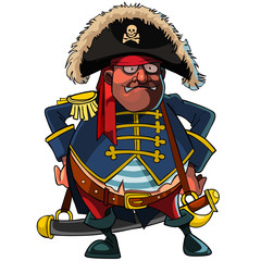 cartoon pirate in a cocked hat and jacket