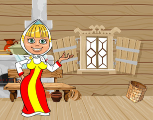 cartoon girl in Russian national dress in a wooden house