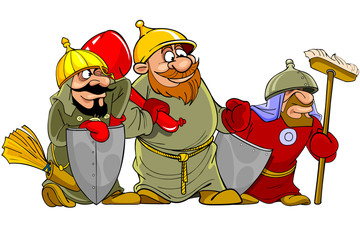 cartoon funny warriors bogatyrs