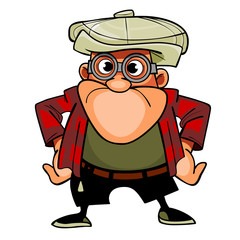 cartoon man with glasses and cap, pose with arms akimbo