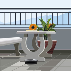 Interior balcony, table with fruit papaya and potted plant