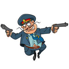 funny cartoon policeman with guns running