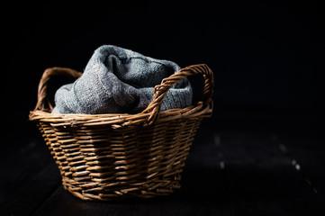 gray knitted blanket
