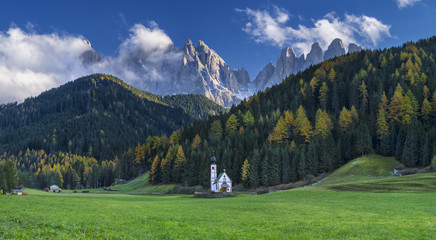 lonely church and mountains