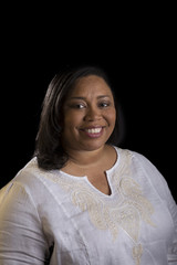 Business portrait of a woman on a black background