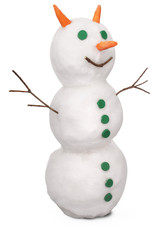 White snowman whith green buttons and carrot. (Clipping path)