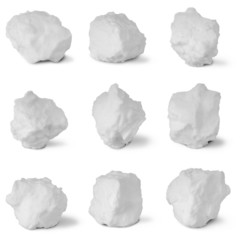 Nine white snowball. (Nine clipping path)