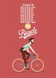 Retro Bicycle Illustration WIth Hipster Character - 72685586