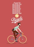 Retro Bicycle Illustration WIth Hipster Character