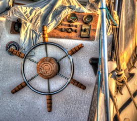 close up of a boat steering wheel in hdr