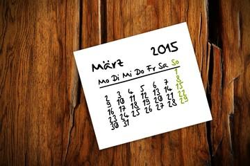 holztisch kalender jahr 2015 maerz I