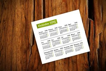 holztisch kalender jahr 2015 I