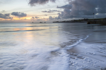 seascape in Swanage with waves on shore
