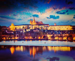 View of Prague in twilight