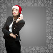 business woman in santa hat