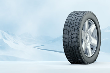Winter Driving - Winter Tire - computer generated image