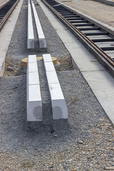 Concrete curb stones at tramway track construction site