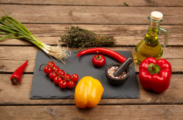 Vegetables for cooking on cutting board