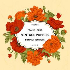 Vintage floral frame with orange, red poppies