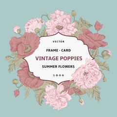 Vintage floral frame with pink poppies