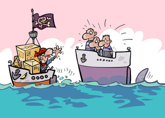 Shipping risks cartoon. Stolen shipment.