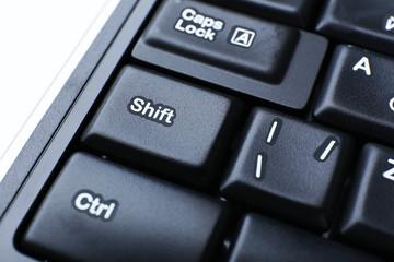 Close up of keyboard of modern laptop
