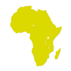 Yellow image of modern Africa map