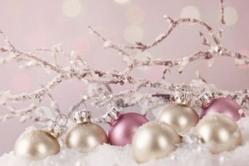 White and pink ornaments