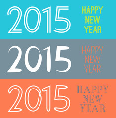 Set of Happy New Year 2015 banner. Vector illustration for