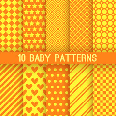 Baby different vector seamless patterns. Orange and yellow