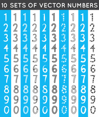 Universal different sets of simple drawn numbers. Vector