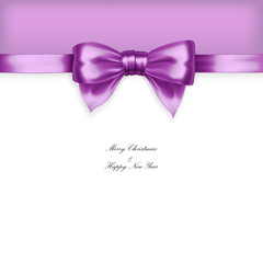 Purple christmas bow with ribbon in vector