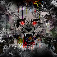 яркий абстрактный фон с волком