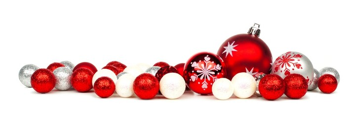 Long Christmas border of red and white ornaments