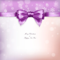 Purple christmas bow with ribbon and snowflakes in vector