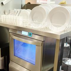 Dishwasher with white plates