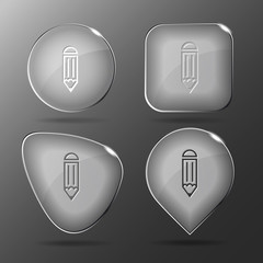 Pencil. Glass buttons. Vector illustration.
