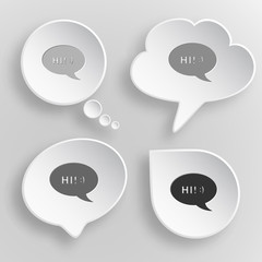 Chat symbol. White flat vector buttons on gray background.